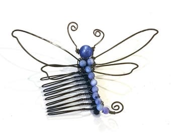 Fairytale Wire Dragonfly Comb in Blue Fantasy #885