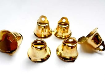 8 Gold Bell Charms, Jewelry Making - 21-TOP