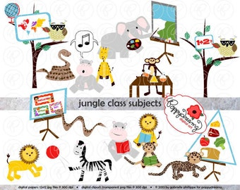 Jungle Class Subjects Clipart: (300 dpi transparent png) School Teacher Clip Art Creative Writing Bulletin Boards Games Subjects