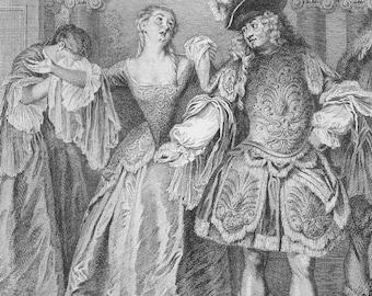 1905 French Theatre Antique Print, Comédie-Française, House of Molière, Théâtre-Français, Louis XIV, France, Fashion Engraving, Opera, Drama