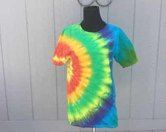 Small Rainbow tie dyed T shirt, festival , hippie, boho