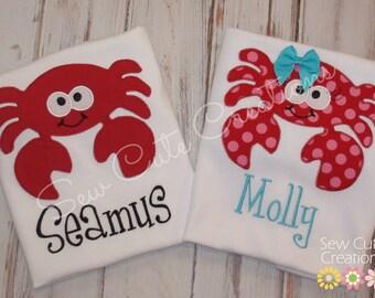 Crab shirt, Girls Crab Shirt, Boys Crab shirt, Crab birthday shirt, beach birthday shirt, crab outfit crab monogram shirt sew cute creations