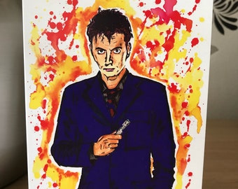 Doctor Who. 10th Doctor. Inky Style Greeting Card. A6. PRINT