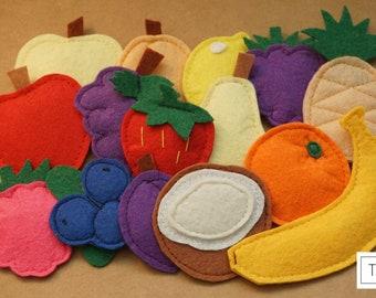 Felt fruits set, Felt food set, Felt fruits