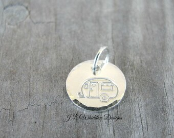 Camper Charm - Camper Jewelry - Silver Camper Charm - Travel Charm - Happy Camper - RV Charm
