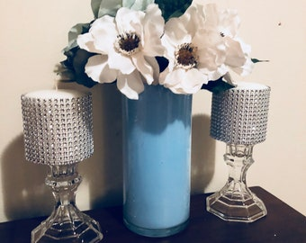 Bling Candles And Glass Vases ! Glass Candle Holder!Designer Candles Set!  Decorative Candles