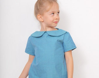 Blue BLOUSE pdf pattern - Peter Pan collar blouse sewing pattern - size 3T - 8Years