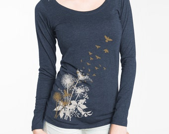 Women's Long Sleeve T-Shirt, Dandelions Print shirt, T-Shirt with Birds in Flight, Gift for Her, Art T-shirt, Cool t-shirt
