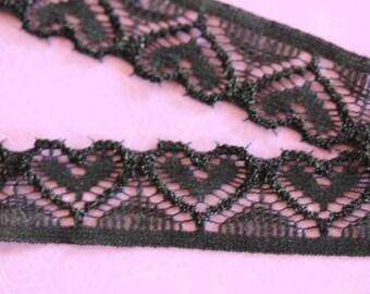 Black hearts elastic lace