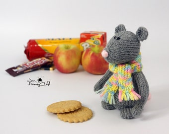 Mouse plush toy Stuffed mouse Woodland plush rat stuffed animal grey rat cute Mouse doll Plushie mouse rodent toy Hand knitted mice