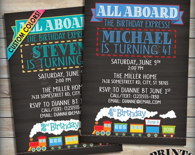 "Train Birthday Invitation, All Aboard the Birthday Train, Birthday Party Invite, Chugga, PRINTABLE 5x7"" Chalkboard Style Train Invitation"