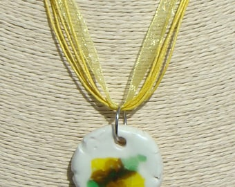 Handmade ceramic and glass necklace, pendant yellow-brown-green handmade in Spain, handmade pendants