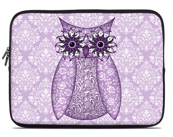 Owl Laptop Sleeve, purple, lavender laptop case, laptop cover, to fit 10, 13, 15, 17 inch, computer sleeve