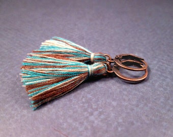 Tassel Earrings, Cream Brown and Blue Cotton Tassels, Copper Lever Back Dangle Hoop Earrings, FREE Shipping U.S.