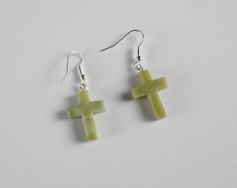 Green Stone Cross Earrings on French Hook
