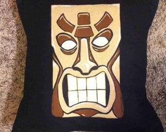 Hand-Painted Tiki Pillow Cover and Insert 16x16