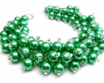 Kelly Green Pearl Beaded Bracelet, Cluster Bracelet, Chunky Bracelet, Green Bridesmaid Jewelry, Emerald Green - Designs By Kim Smith