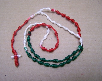 Mexican Pride Hand-Tied Red White and Green Color Rosary