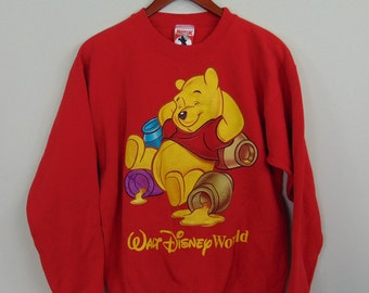 Vintage  Mickey Inc Adult S Winnie The Pooh Crewneck Sweatshirt Walt Disney World Red Big Logo 90s