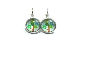Tree Glass Dome Earrings ,  Drop Style Earrings , Lever Back Ear Wires , Floral Art Earrings