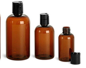 2 oz. (60 mL) Amber Plastic Bottles with Disc Caps, Set of 6