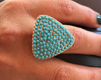 Turquoise ring, Gemstone ring, Gold filled ring, Hand made ring