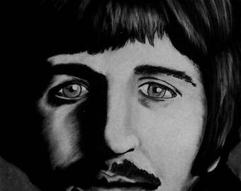 Ringo Starr 1967 - 18X24 - Original Charcoal Art by Joseph Olsson