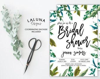 Bridal Shower Invitation, Greenery Invitation, Bohemian Invitation, Foliage Bridal Shower, Leaf Invitation, Printable