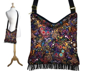 Bohemian Fringe Purse Hippie Bag Hobo Purse Crossbody Bag Boho Fabric Bag Cross Body Purse Colorful circles dots black blue orange MTO