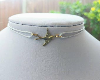 Gold sparrow pendant leather cord choker
