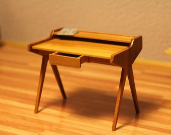 Dollhouse - Miniature - Midcentury modern desk by Helmut Magg from the 1950s.
