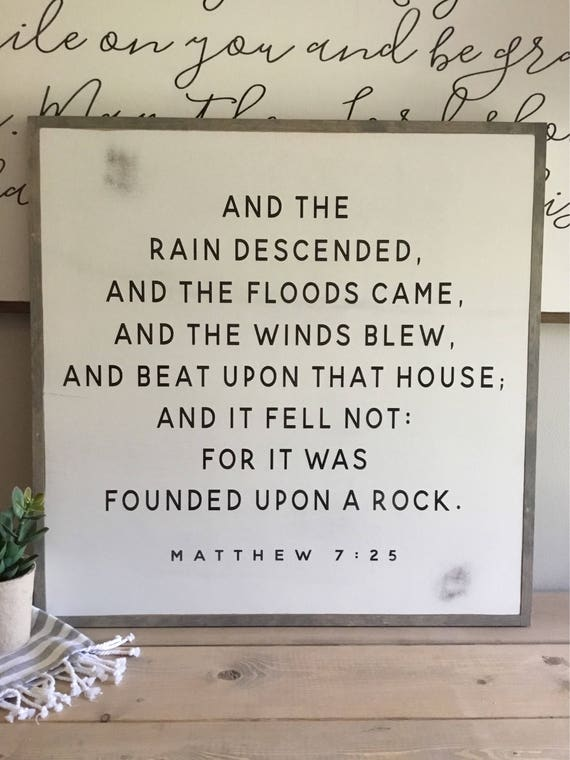 FOUNDED UPON a ROCK 2X2 | distressed painted wall plaque | shabby chic farmhouse decor | framed wall scripture art