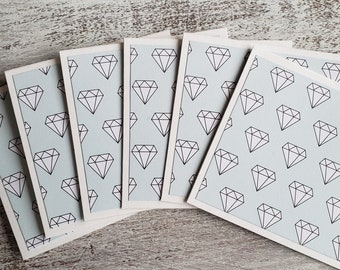 Mini Cards // Set of 6 // Diamond Note Cards // 3x3 Cards // Thank You Cards // Blank Cards