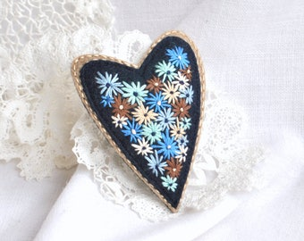 Hand embroidery heart felt brooch Embroidered flowers fabric jewelry Embroidery floral art jewelry Blue flowers embroidery brooch Mom gift
