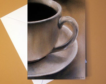 Art Greeting Card  - Created from Original ACEOs for Charity - Blank Notecard - 4x6 - Coffee tea cup - Day 258
