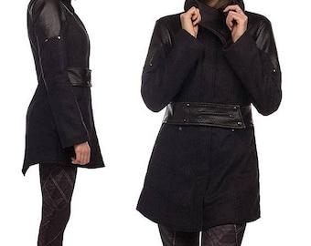 ON SALE Phoenix, tailored winter coat with asymmetrical neckline by Plastik Wrap.