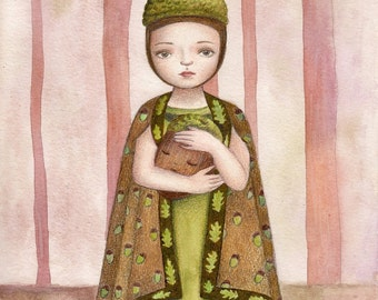Acorn Girl, Art Print, Watercolor Art, Wall Art, Bedroom Decor, Girls Bedroom Art, Whimsical Art, Home Decor, Girls Gift, Girls Room Decor