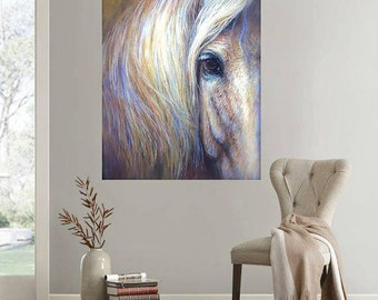 Horse Art Print of soulful eye on canvas or paper of 'Aramis'