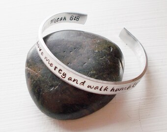 Hand Stamped Cuff Bracelet Inspirational Bible Verse Micah 6:8 Act Justly, Love Mercy And Walk Humbly With Your God Scripture Jewelry