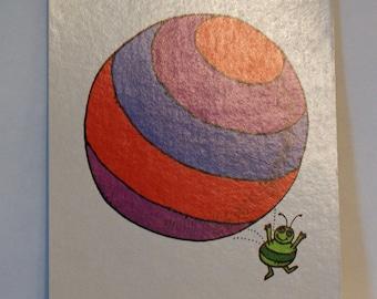 Vintage Flash Card BALL Green Bug Nursery Art Decor Paper Ephemera Bright Colors 1977 Milton Bradley