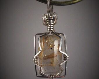 Rutilated Quartz sterling silver pendant