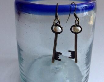 Steampunk Skeleton Key Earrings