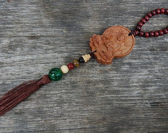 Wood Buddha Hanging,Jade,Wood,Rear View Mirror Charm,Travel Alter Car,Alter Wall,Room Decor,Car Decor,Mala,Prayer,Good Luck,Yoga,Protection