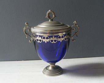 Antique Footed  Sugar Bowl,Blue Glass and silver plated metal.