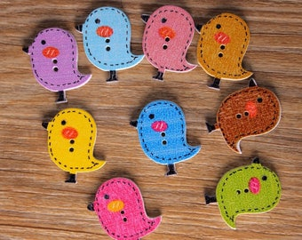 "30 PC Painted wood buttons 26mm - Wooden Buttons ,tree buttons, natural wood buttons ""bird"" A038"