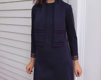 Purple 60s Dress Mod Bleeker Street Vintage M