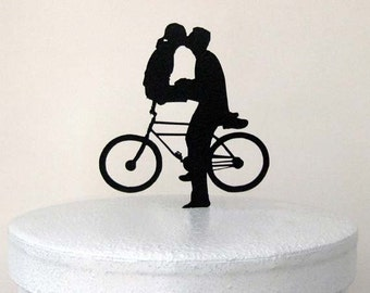 Wedding Cake Topper -Kiss on Bicyle Wedding Cake Topper