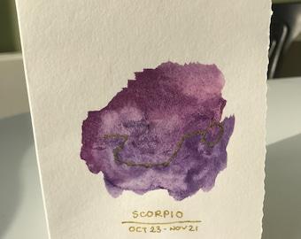 Scorpio birthday card! Made using watercolours!