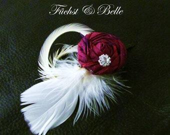 Fuschia bridal fascinator / Deep pink rosette with Feather Hair piece / Wedding head piece