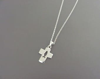Sterling silver Ichthus Cross necklace, Jesus Fish necklace, Sterling silver Cross necklace,  Christianity Fish cross, Sterling  necklace,
